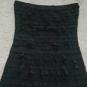 EXPRESS SIZE XS BLACK STRAPLESS TIERED DRESS